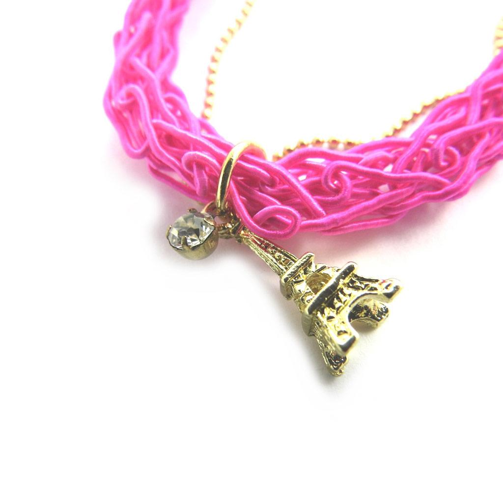 Bracelet \'Tour Eiffel\' rose doré - [N1777]