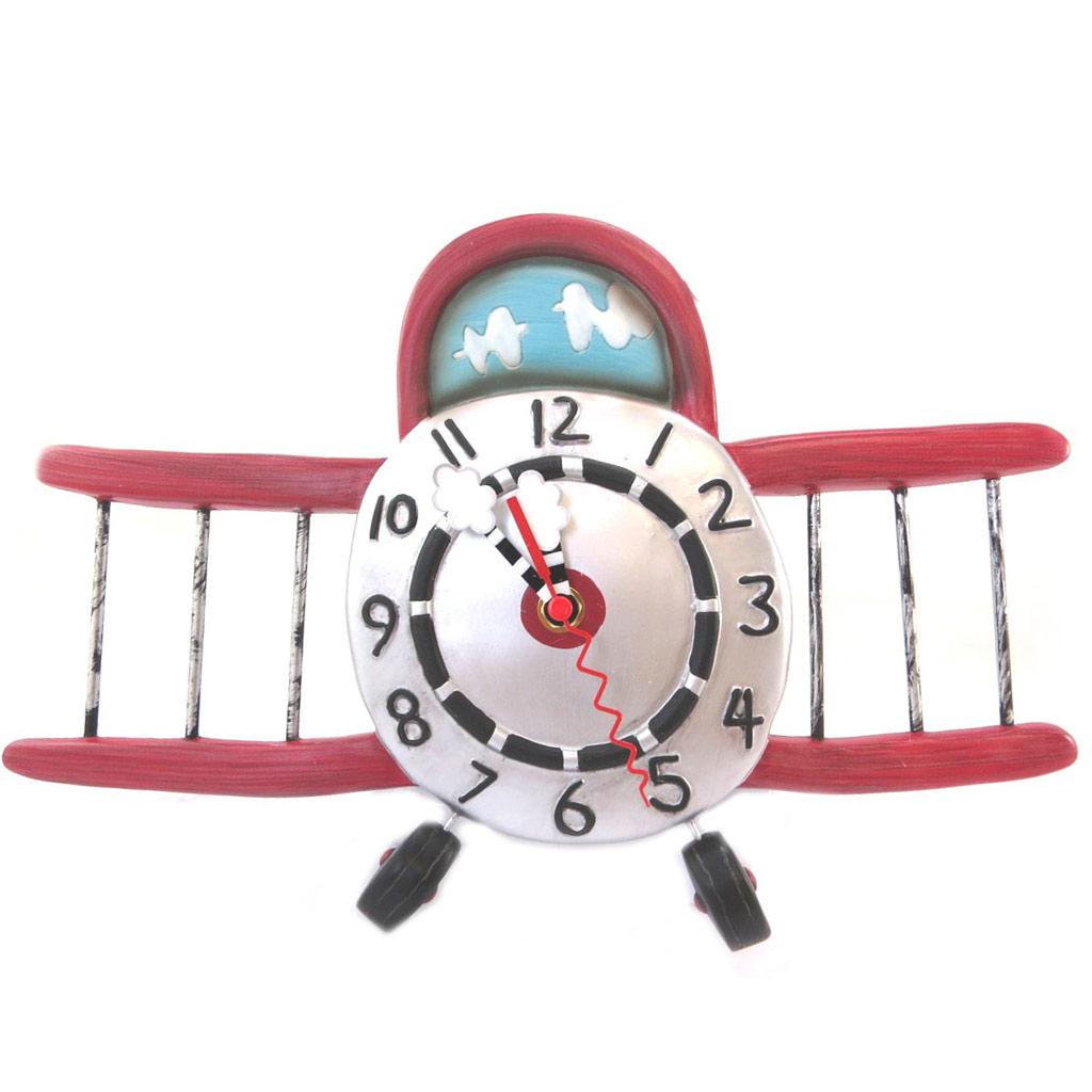 Horloge Murale \'Allen Designs\' rouge argenté (avion planeur) - 345x34 cm - [P5692]