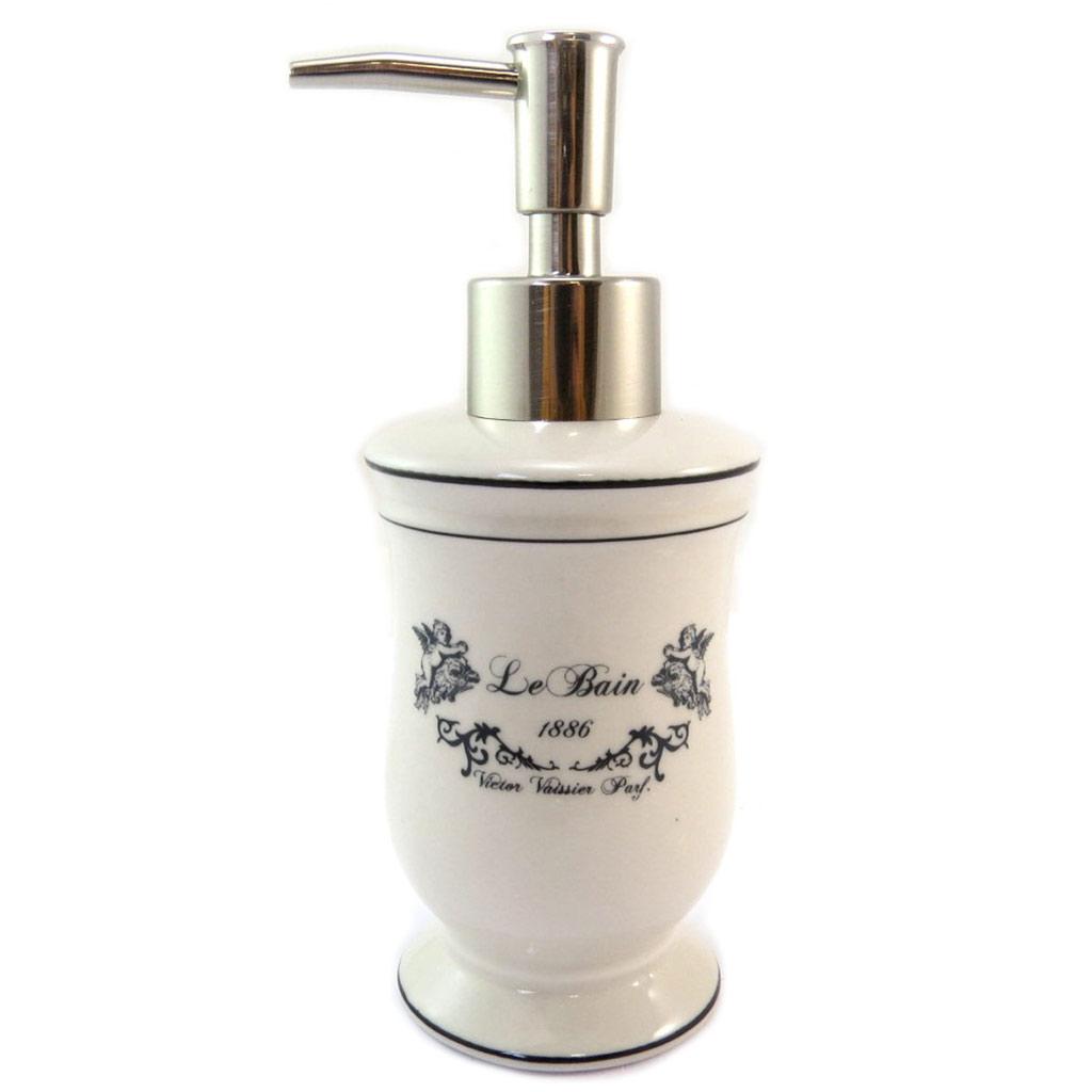 Distributeur de savon céramique \'Le Bain\' beige (rétro) - 17x62 cm - [P5696]