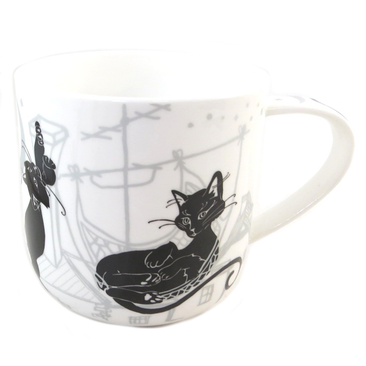 Mug porcelaine \'Les Chats\' blanc noir - 95x90 mm - [Q0210]