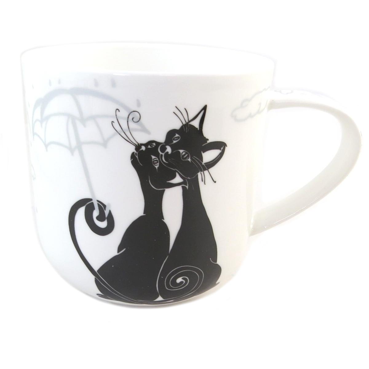 Mug porcelaine \'Les Chats\' blanc noir - 95x90 mm - [Q0211]