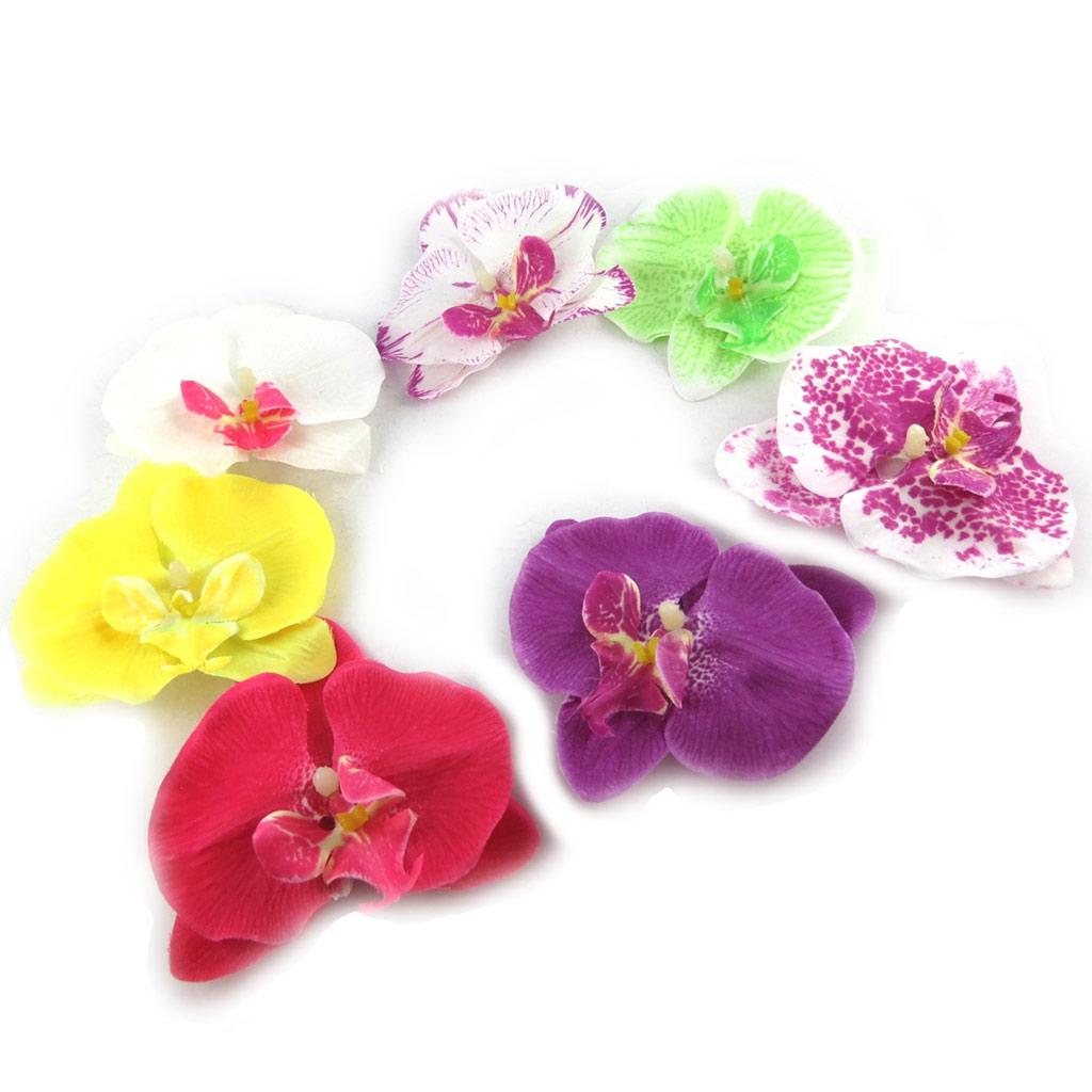 7 pinces \'Orchidée\' tutti frutti - [K7645]