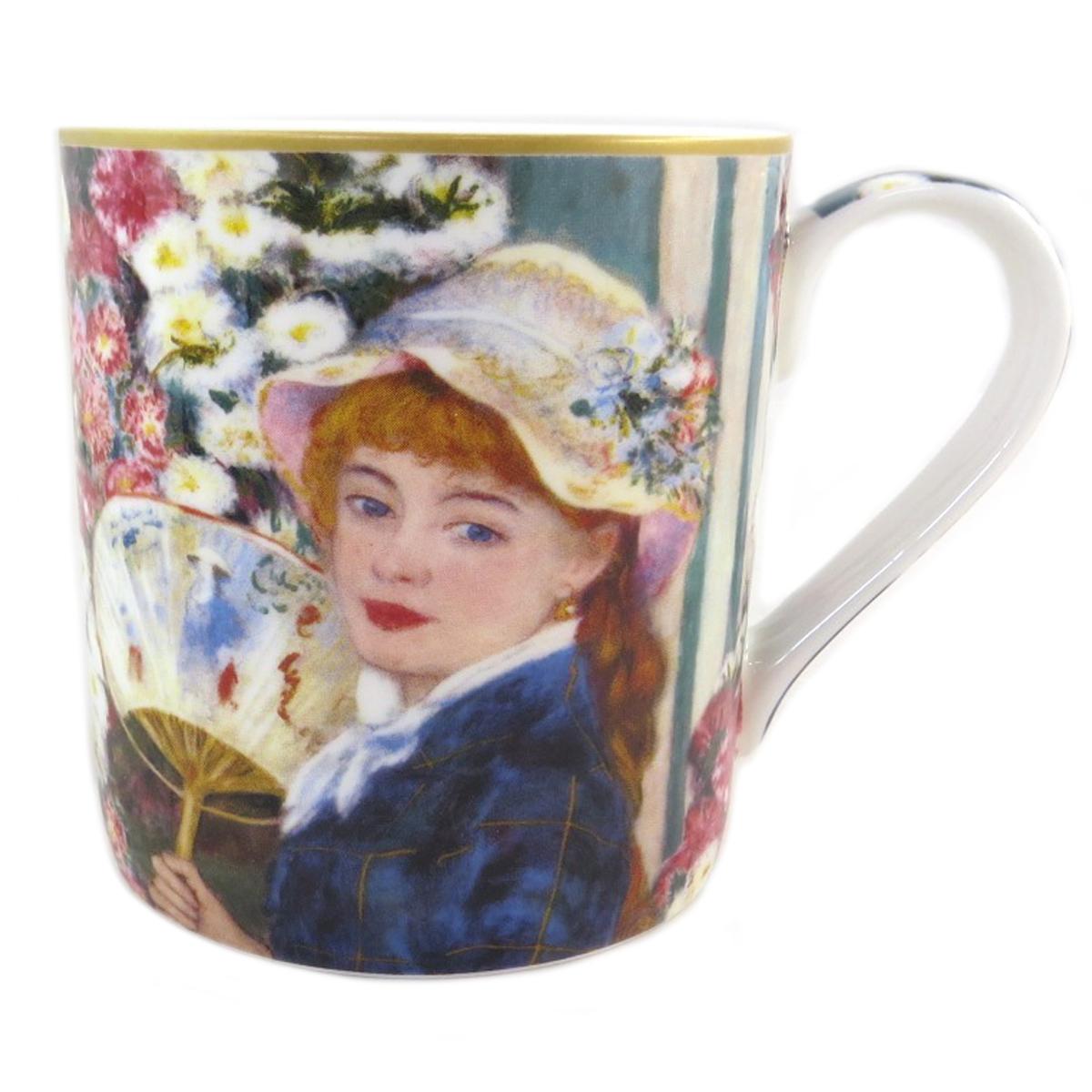 Mug porcelaine \'Auguste Renoir\' (jeune fille avec un éventail) - 12x85 cm (38 l) - [Q0214]