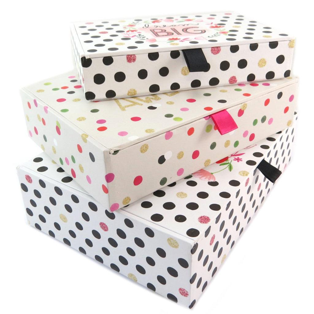 Set de 3 boîtes à Souvenirs gigognes \'Dream Big\' rose beige - 23x165x6 cm - [P5717]