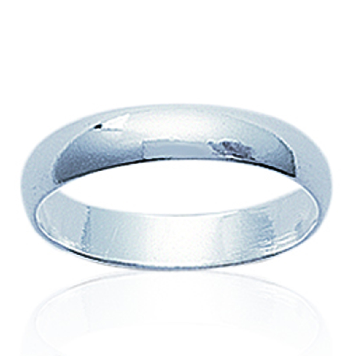 Alliance \'Demi-Jonc\' Argent (rhodié) - 4 mm - [N1801]