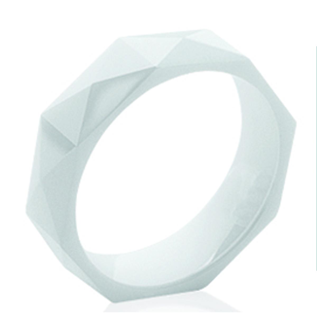 Bague céramique \'Mineralia\' blanc - 6 mm - [K7674]