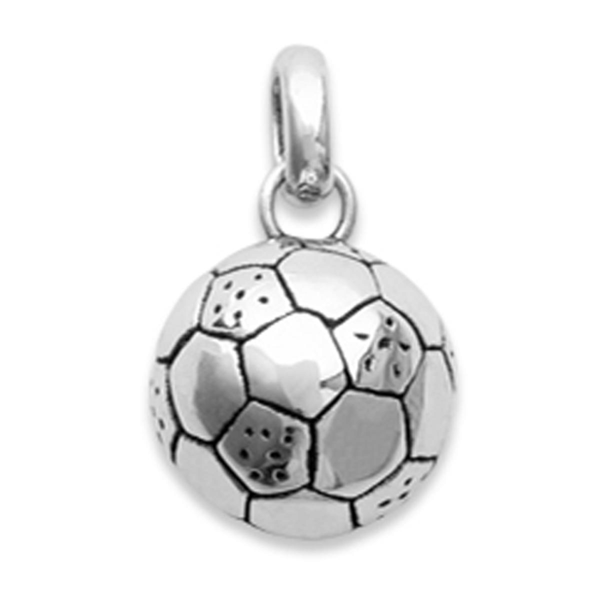 Pendentif Argent \'Football\' argenté (rhodié) - 10 mm - [N1802]