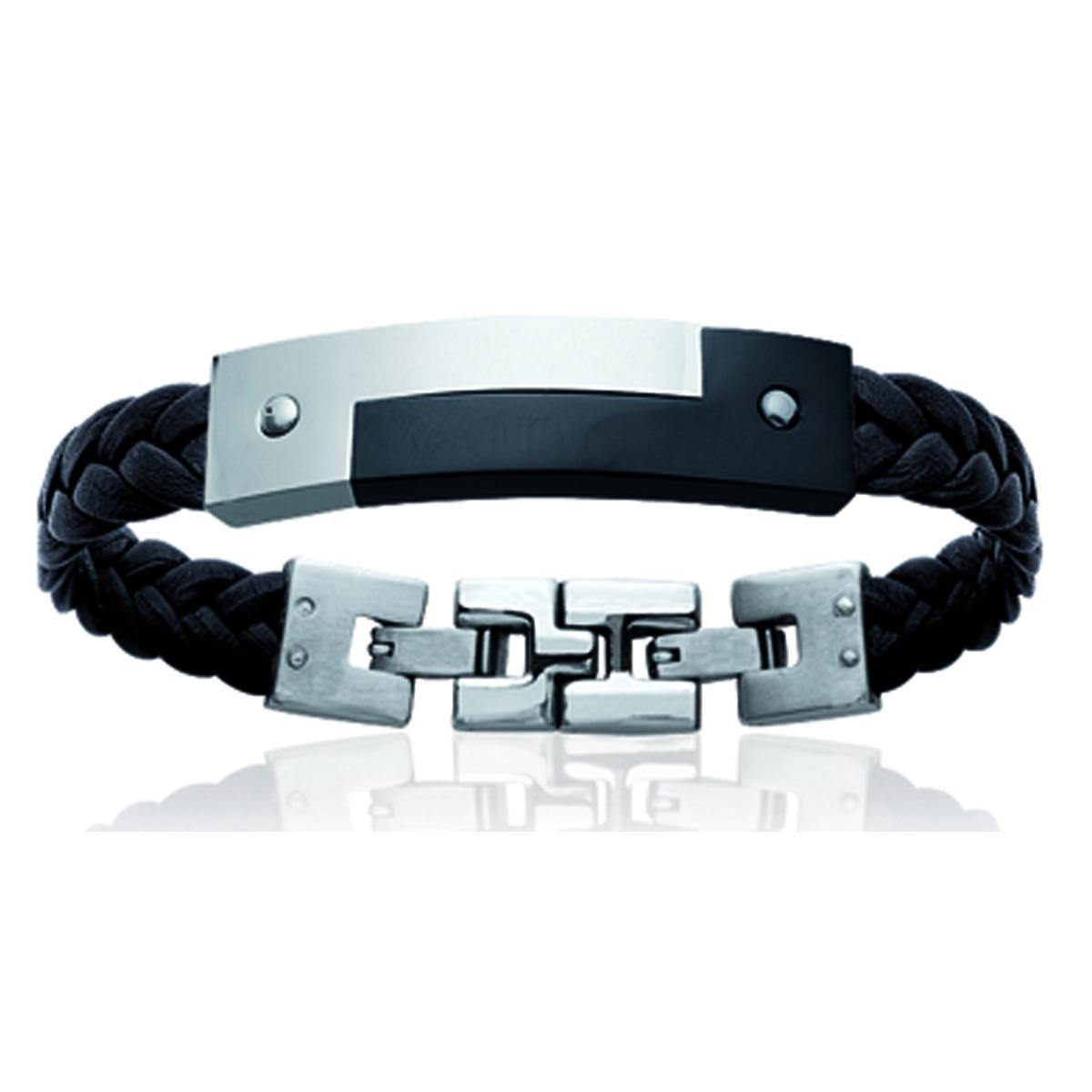 Bracelet acier \'Tony\' noir argenté - 47x12 mm - [N1822]