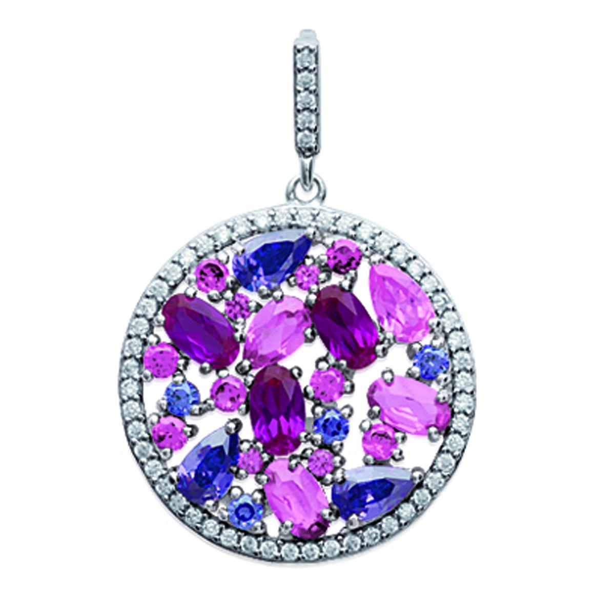 Pendentif Argent \'Sissi\' rose violet (rhodié) - 20 mm - [N1826]