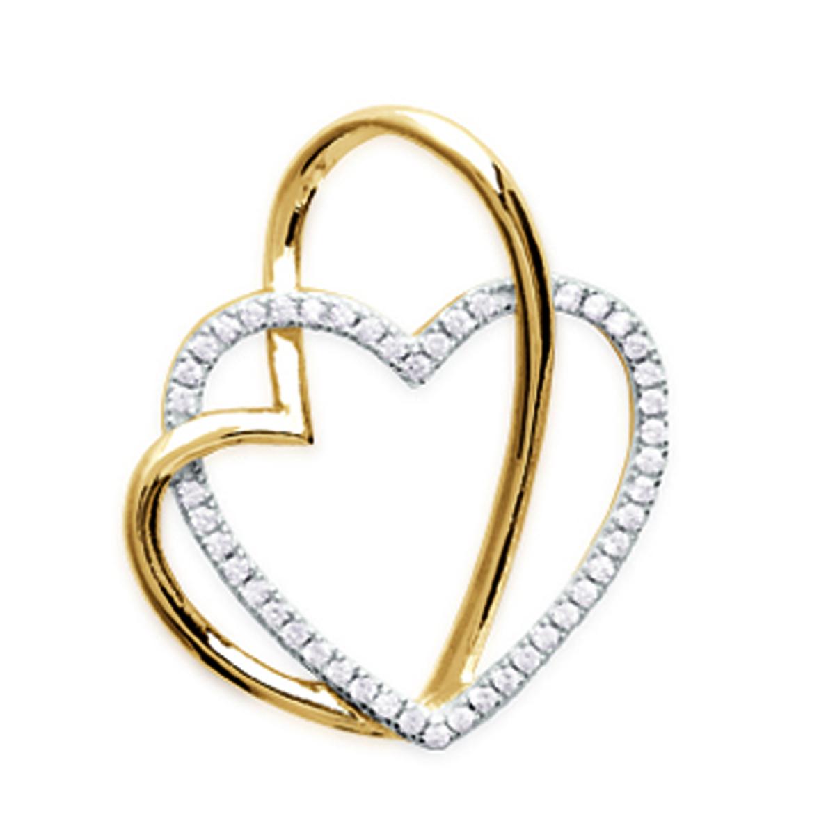 Pendentif Plaqué Or \'Gorgeous Love\' blanc doré - 24x20 mm - [N1828]