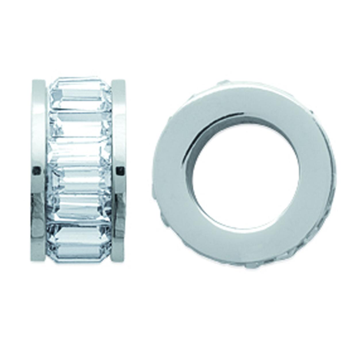 Pendentif acier \'Déesse\' blanc argenté - 12x6 mm - [K7710]