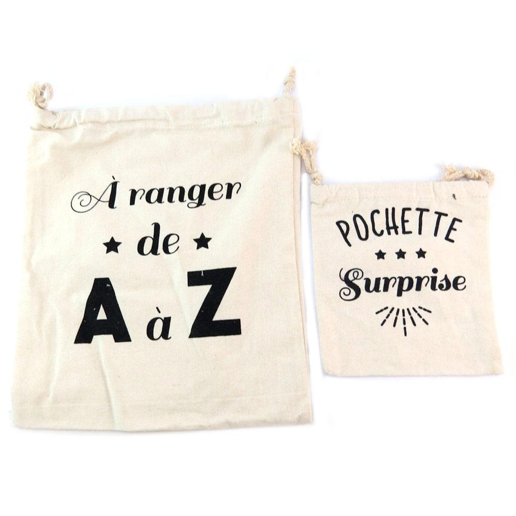 Pochettes de rangements coton \'Messages\' beige ( A ranger de A à Z - Pochette Surprise) - 32x27 cm et 16x186 cm - [P5794]