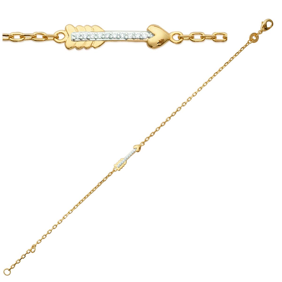 Bracelet Plaqué or \'Flèche de Cupidon\' blanc doré - 17x4 mm - [K7771]