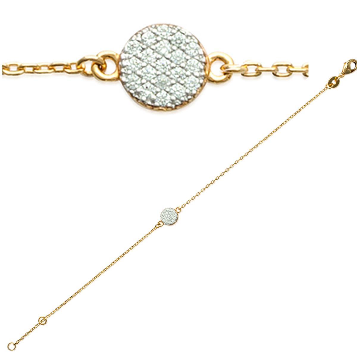 Bracelet Plaqué or \'Déesse\' blanc doré - 7 mm - [K7774]