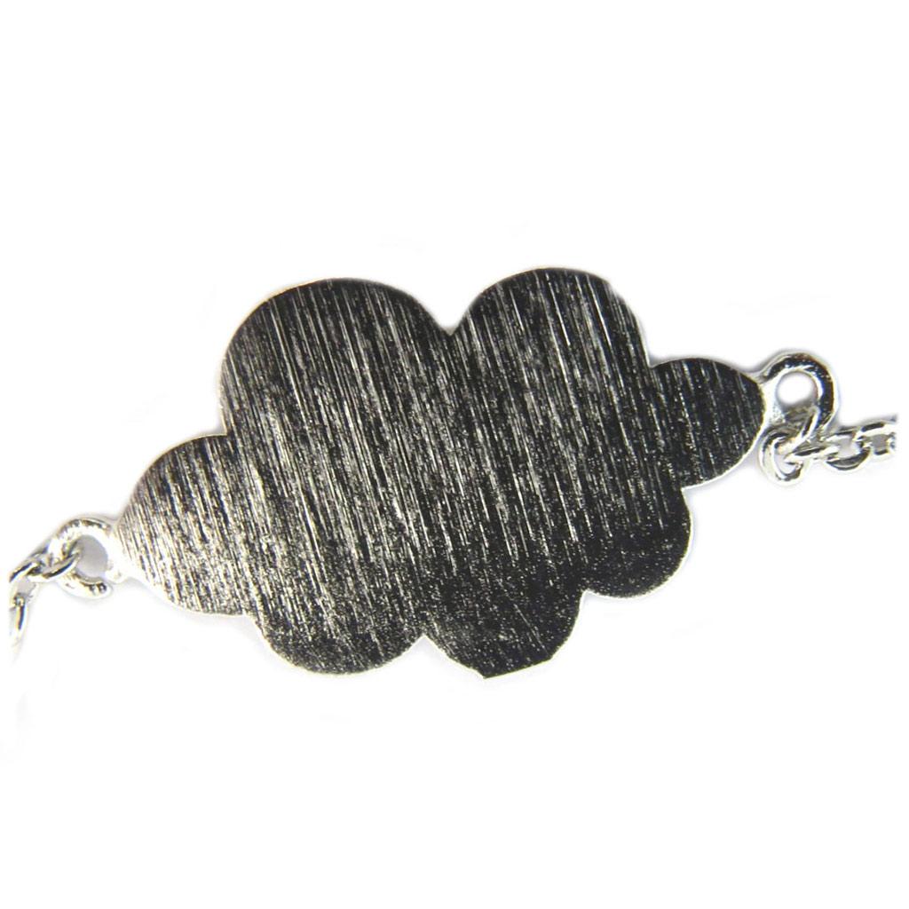 Bracelet artisanal \'Nuage\' argenté - 15x10 mm - [P5850]