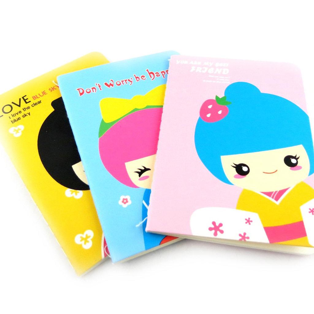 3 petits carnets de notes \'Geisha\' tutti frutti - [K7865]