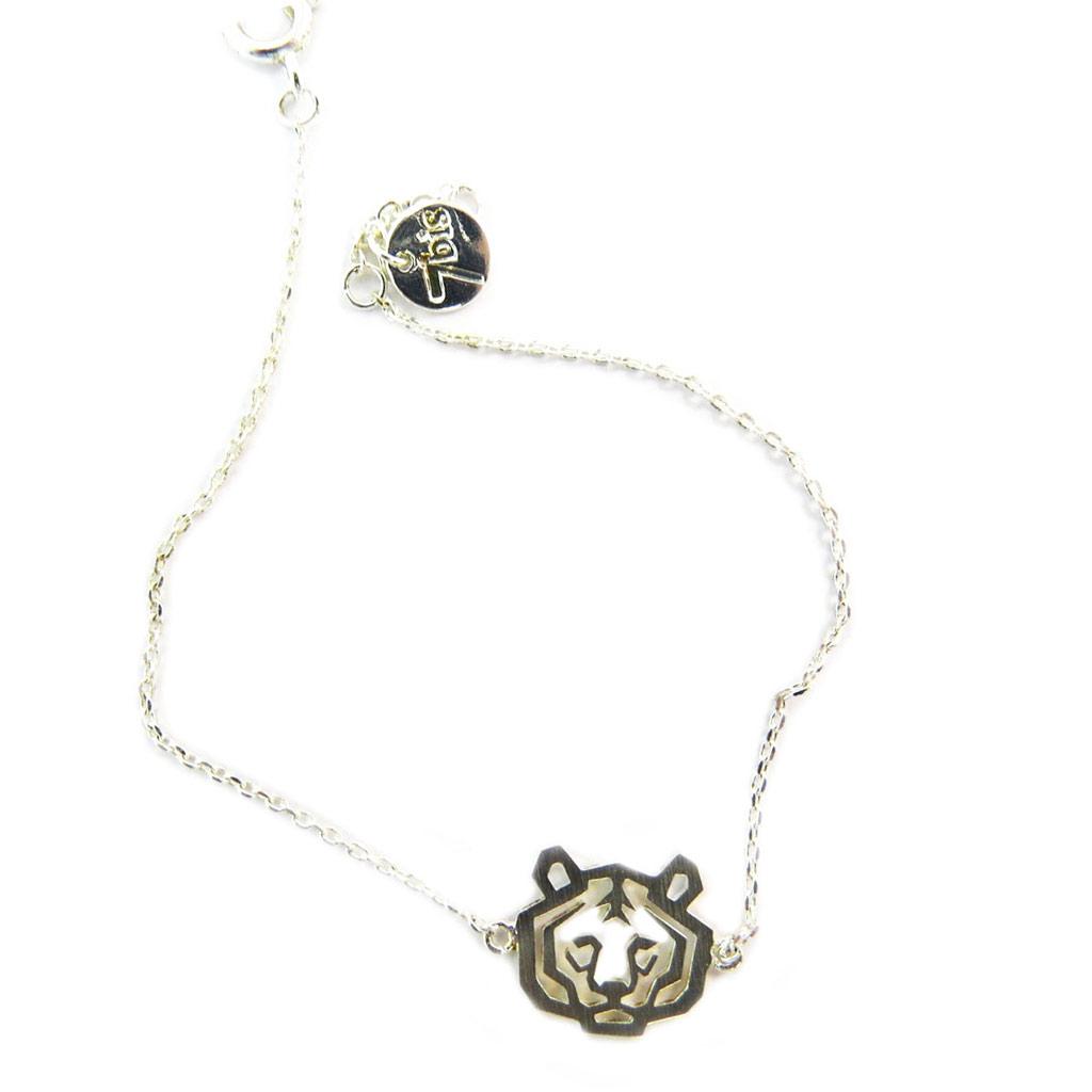 Bracelet artisanal \'Origami\' (tigre) argenté - 12x10 mm - [P5868]