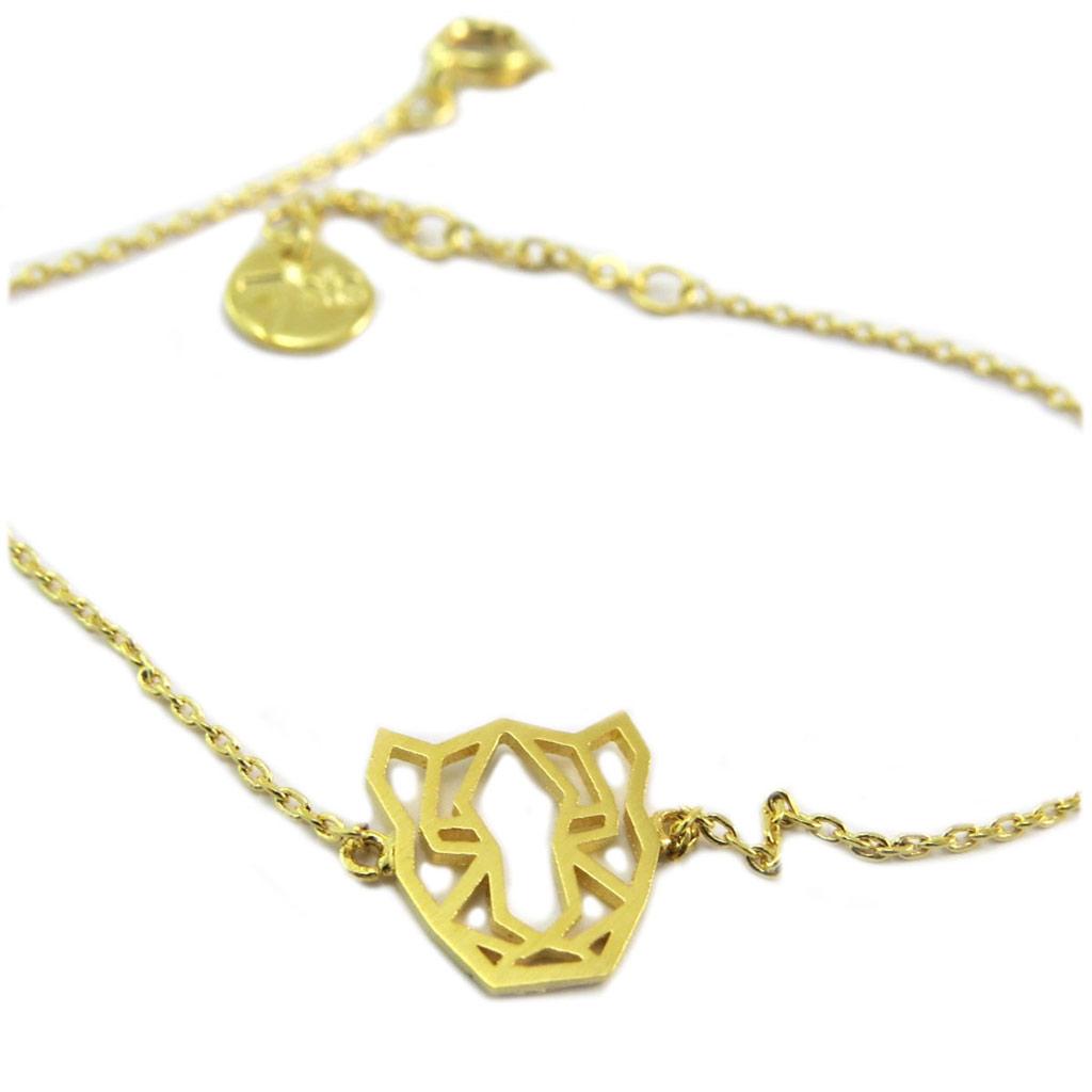 Bracelet artisanal \'Origami\' (panthère) doré - 12x11 mm - [P5870]
