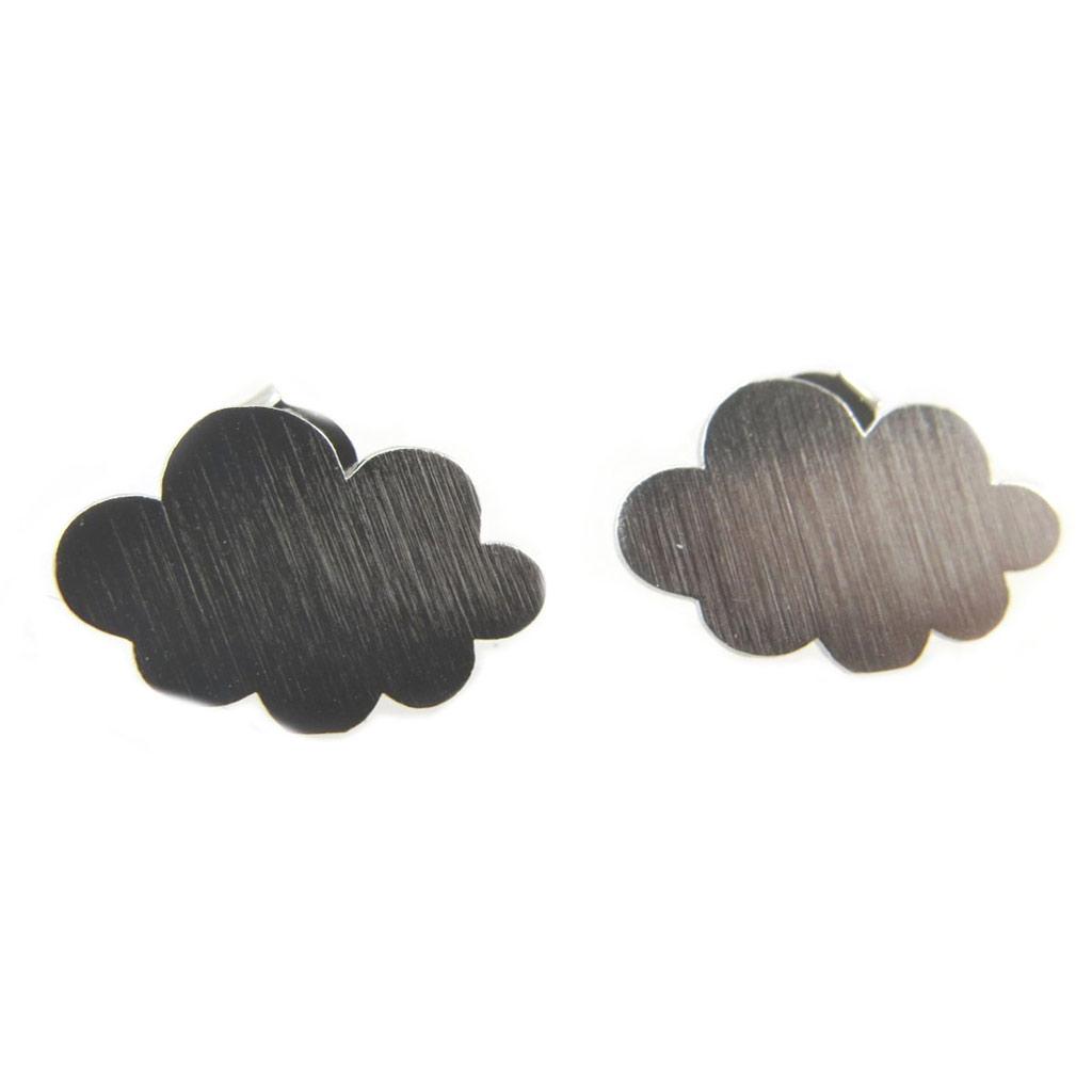 Boucles artisanales \'Nuage\' argenté - 15x10 mm - [P5907]