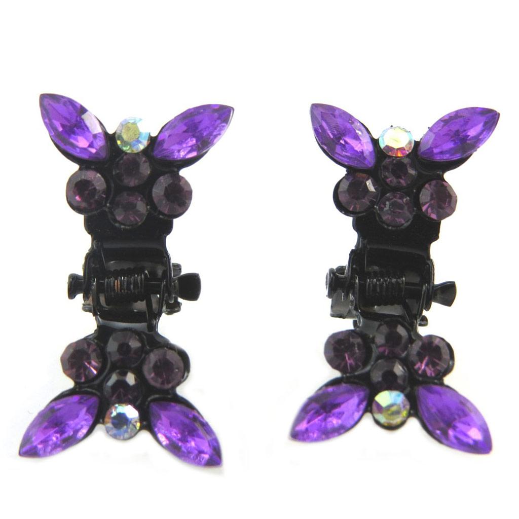 Paire minis pinces \'Sissi\' violet (papillons) - [P5917]