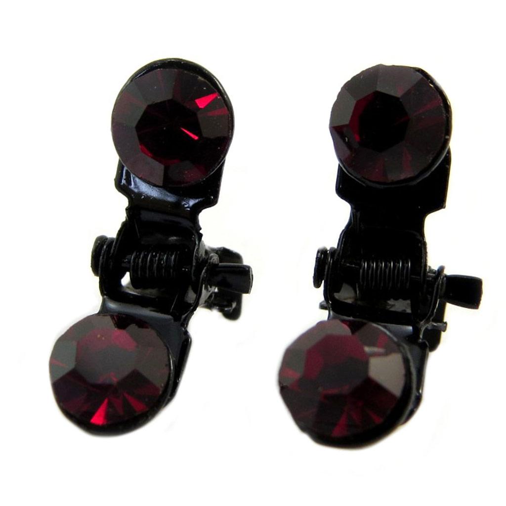 Paire minis pinces \'Sissi\' rouge foncé - 7 mm - [P5919]