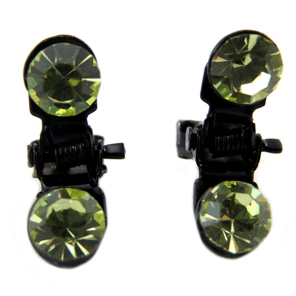 Paire minis pinces \'Sissi\' vert - 7 mm - [P5925]