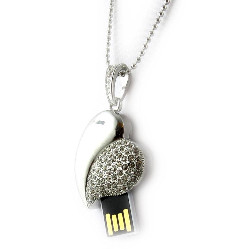 Clé USB collier \'Love\' chrome (8Go) - [K8024]