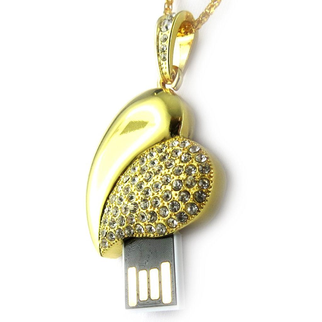 Clé USB collier \'Love\' doré (8Go) - [K8025]