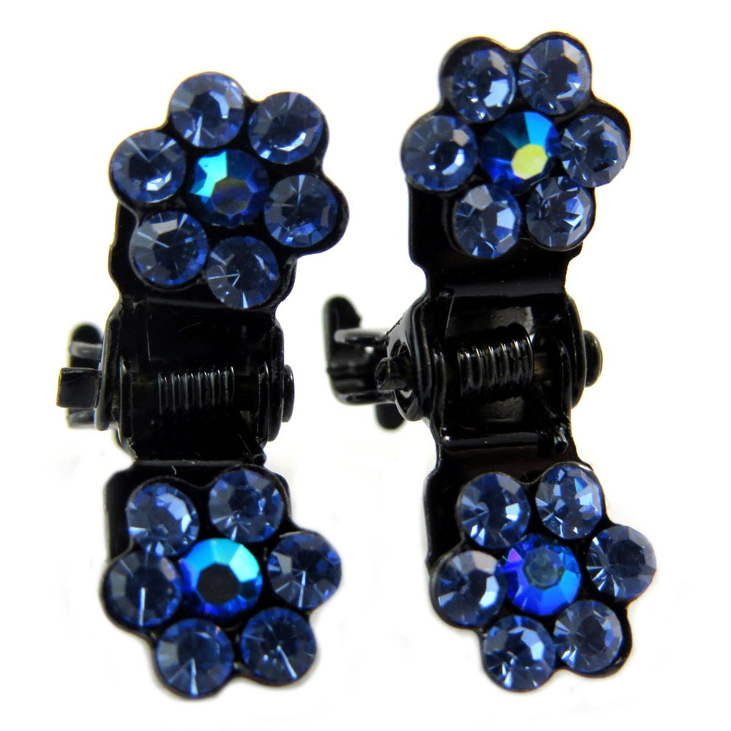 Paire minis pinces \'Sissi\' bleu (fleurs) - 8 mm - [P5932]