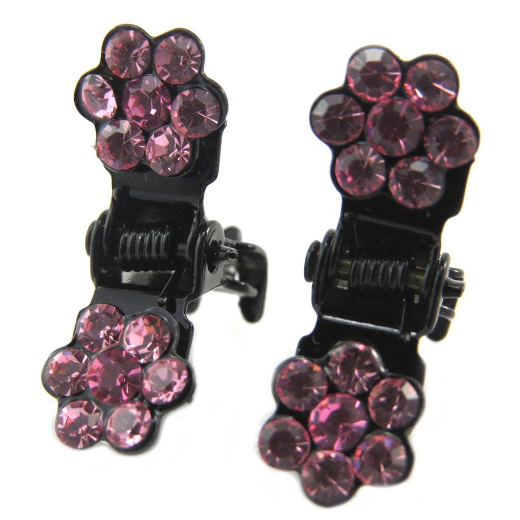 Paire minis pinces \'Sissi\' rose (fleurs) - 8 mm - [P5933]