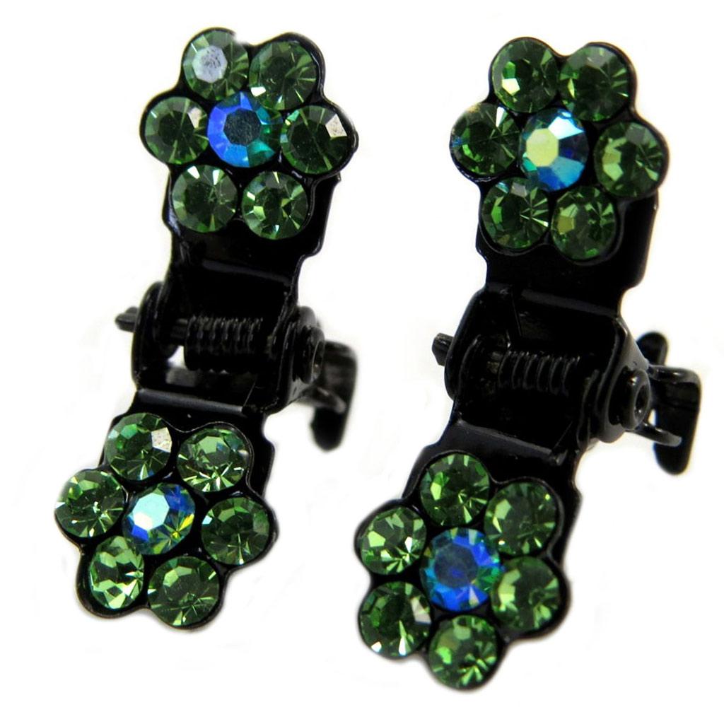 Paire minis pinces \'Sissi\' vert (fleurs) - 8 mm - [P5934]