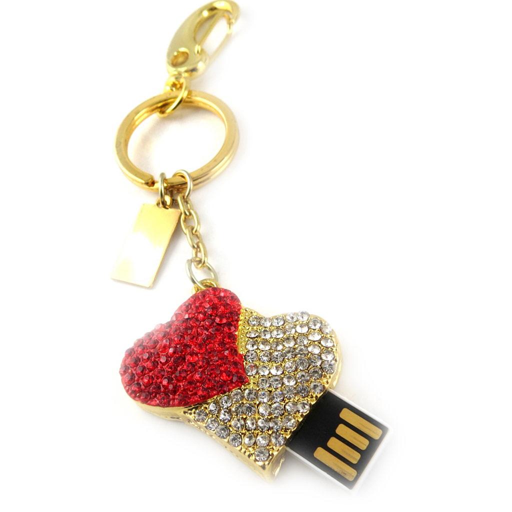 Clé USB porte-clés \'Love\' rouge blanc doré (8Go) - [K8034]