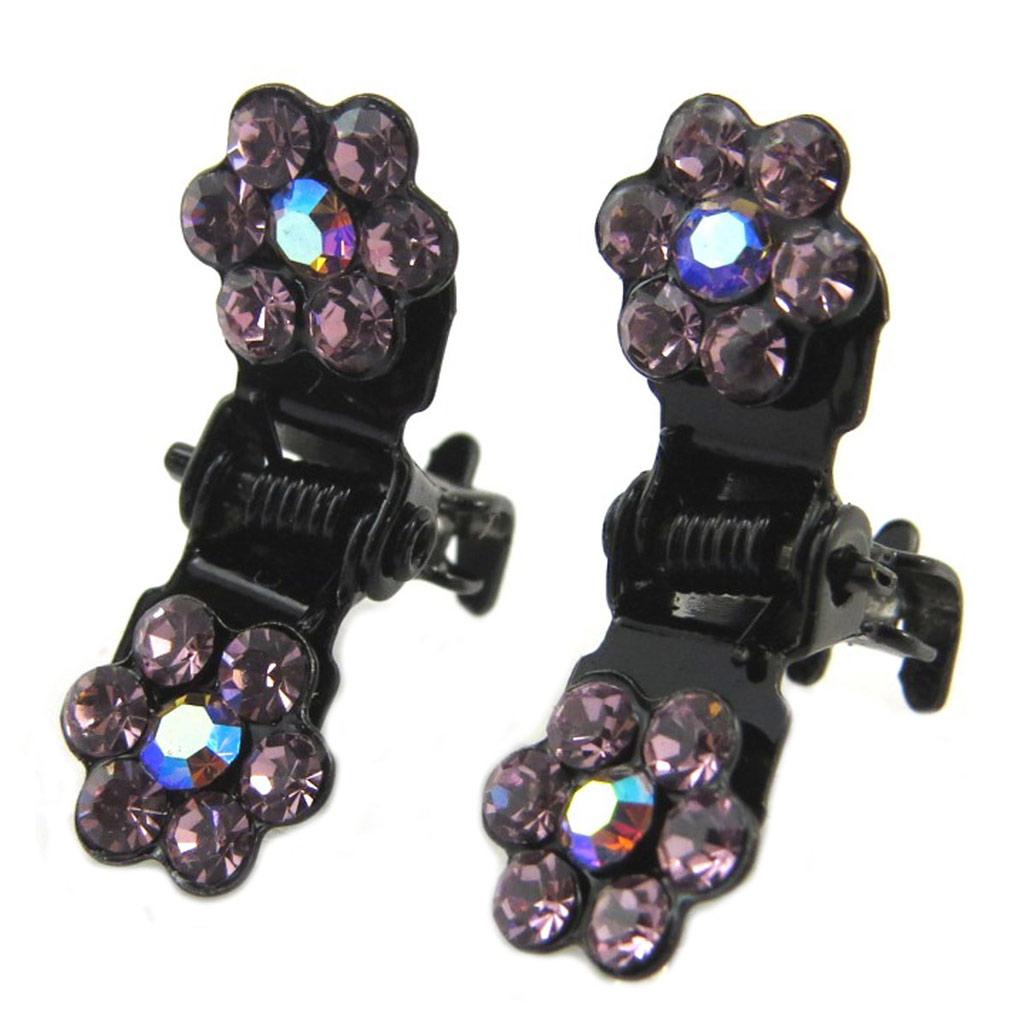 Paire minis pinces \'Sissi\' violet (fleurs) - 8 mm - [P5936]