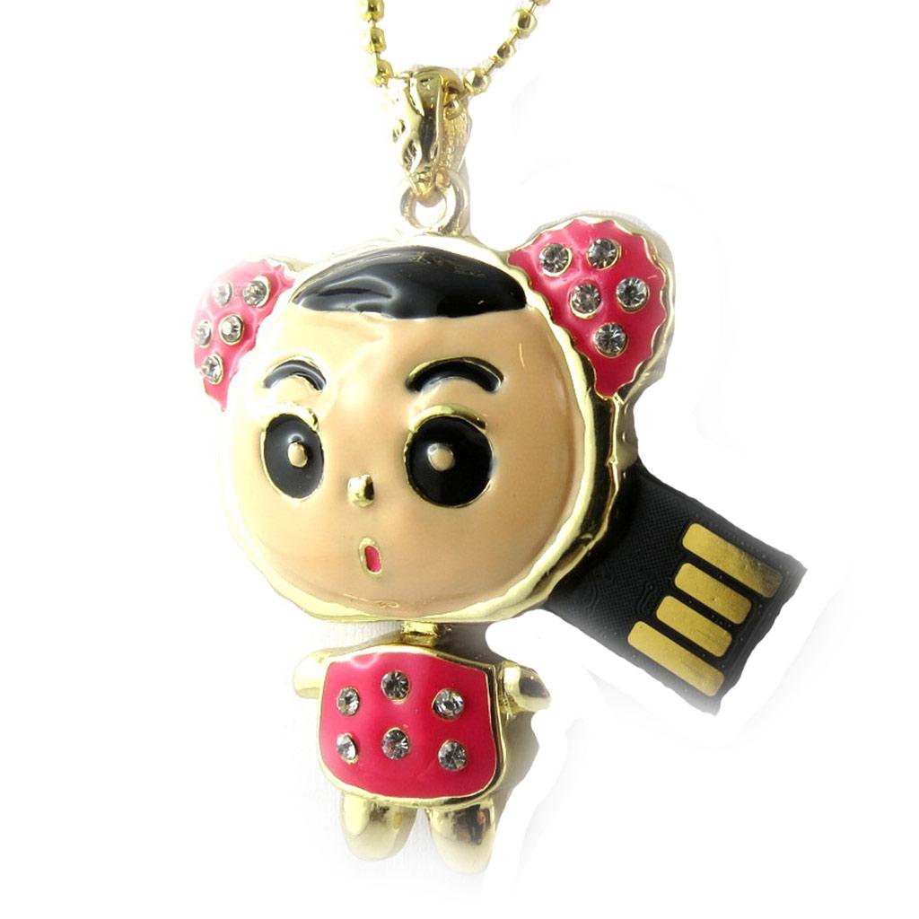 Clé USB collier \'Choupette\' rose doré (8Go) - [K8036]