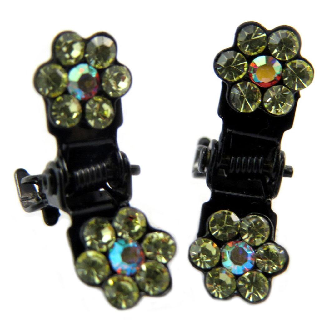 Paire minis pinces \'Sissi\' jaune (fleurs) - 8 mm - [P5938]