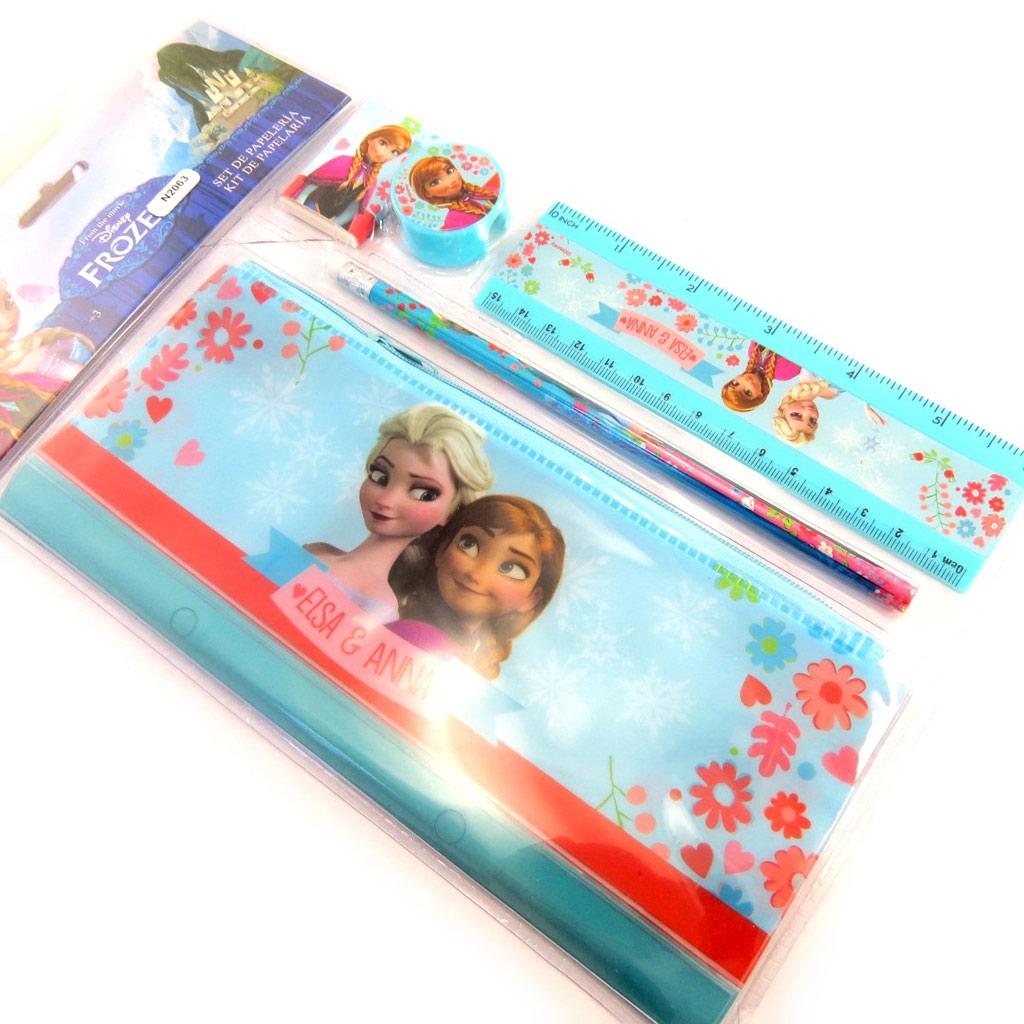 Set papeterie \'Frozen - Reine des Neiges\' turquoise rouge (5 pièces) - [N2063]