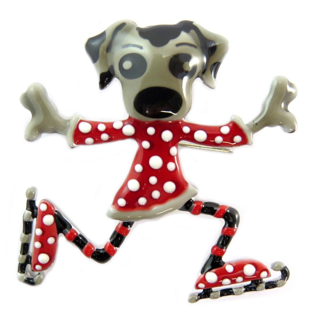 Broche créateur \'Lilipoupettes\' (chien) rouge gris - 50x50 mm - [P5958]