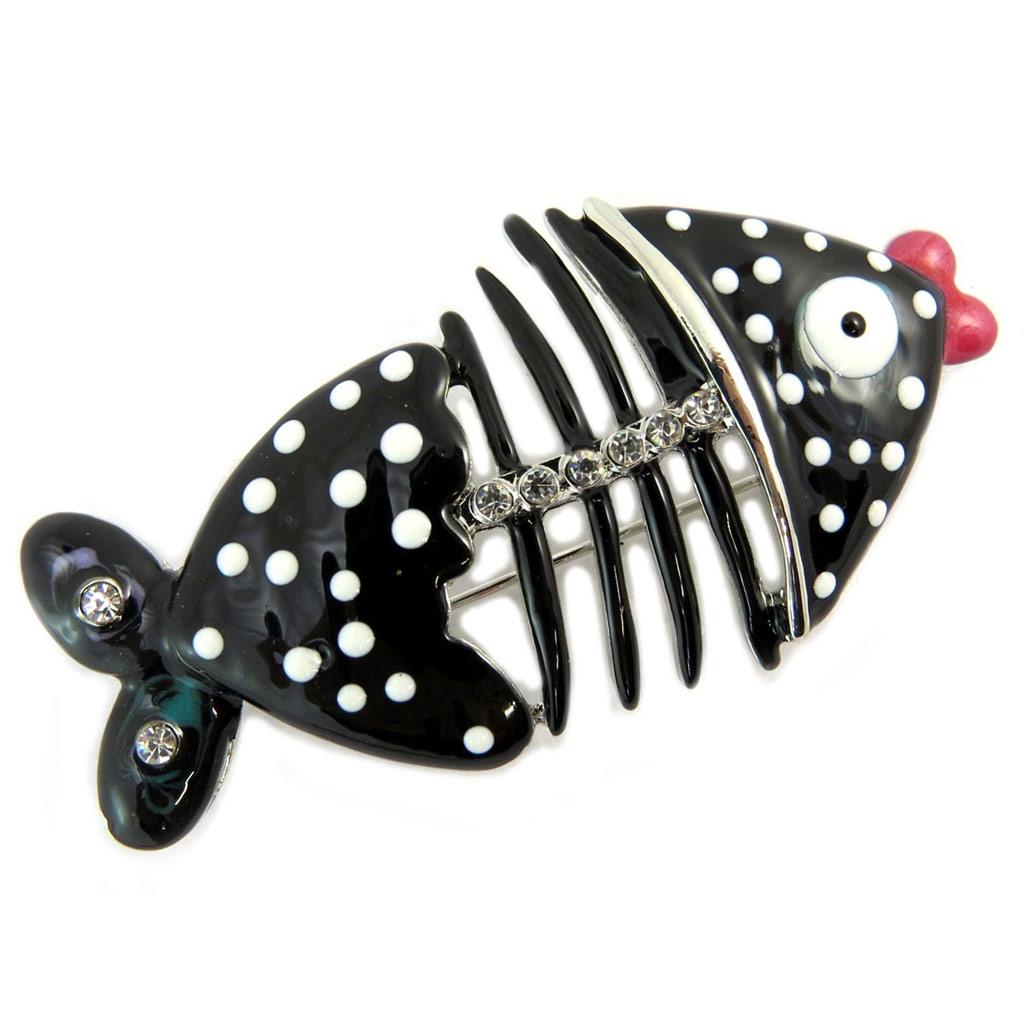 Broche créateur \'Lilipoupettes\' (poisson) noir blanc - 60x30 mm - [P5959]