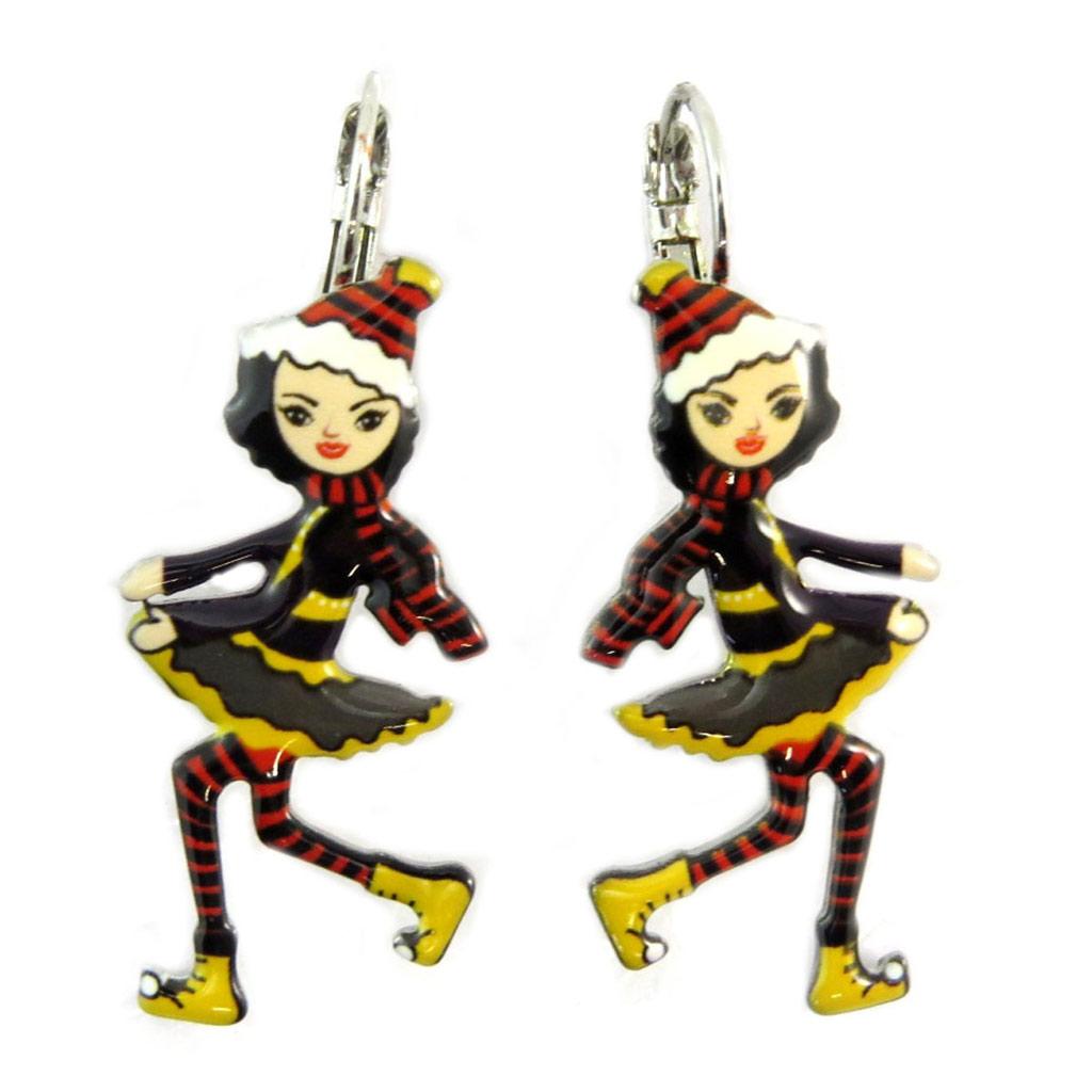 Dormeuses créateur \'Lilipoupettes\' (poupée) rouge jaune noir - 40x17 mm - [P5973]