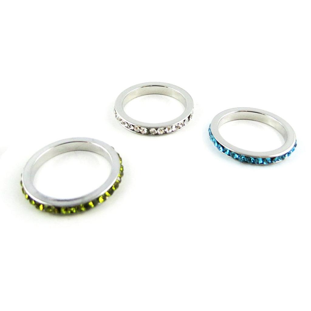 3 alliances cristal \'Sissi\' vert blanc turquoise - [K8086]