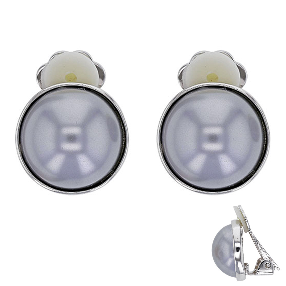 Boucles clips Créateur \'Sissi\' gris argenté (perles de marjorque)- 15 mm - [P6000]