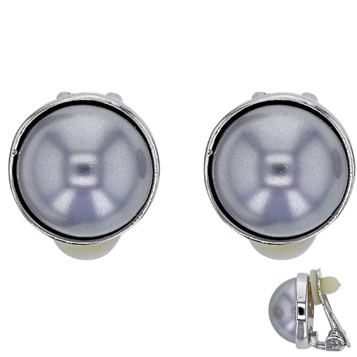 Boucles clips Créateur \'Sissi\' gris argenté (perles de marjorque) - 12 mm - [P6001]