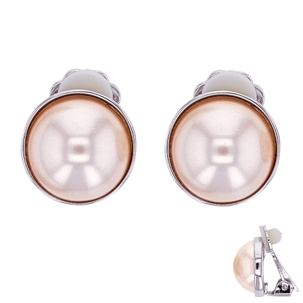 Boucles clips Créateur \'Sissi\' blanc argenté (perles de marjorque) - 12 mm - [P6002]