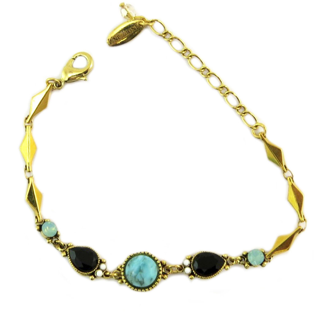 Bracelet artisanal \'Constantinople\' turquoise noir doré - [P6012]