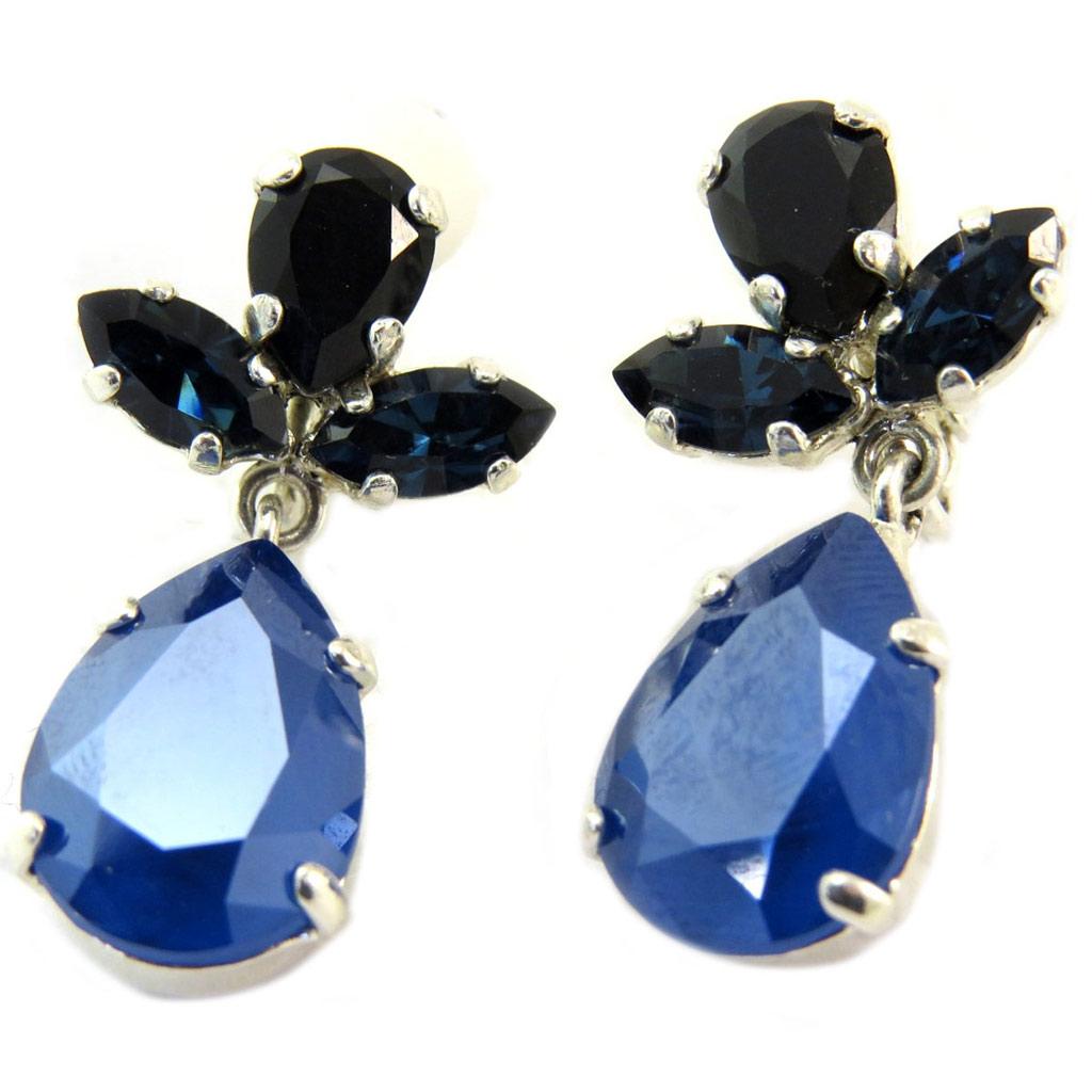 Clips d\'oreilles artisanales \'Constantinople\' bleu argenté - 30x15 mm - [P6045]