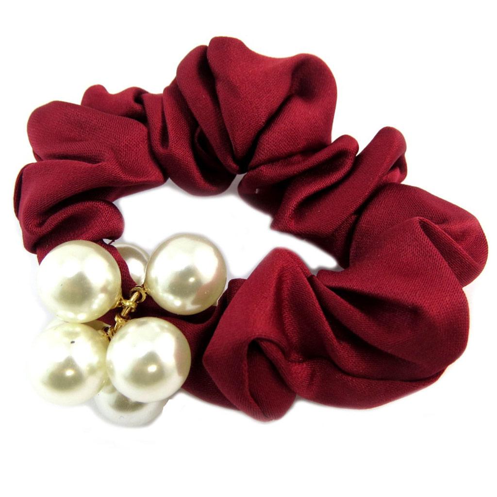 Chouchou créateur \'Sissi\' rouge ivoire (satin) - largeur 25 cm - [P6096]