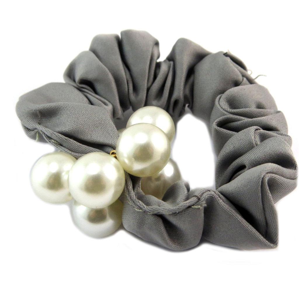 Chouchou créateur \'Sissi\' gris ivoire (satin) - largeur 25 cm - [P6097]