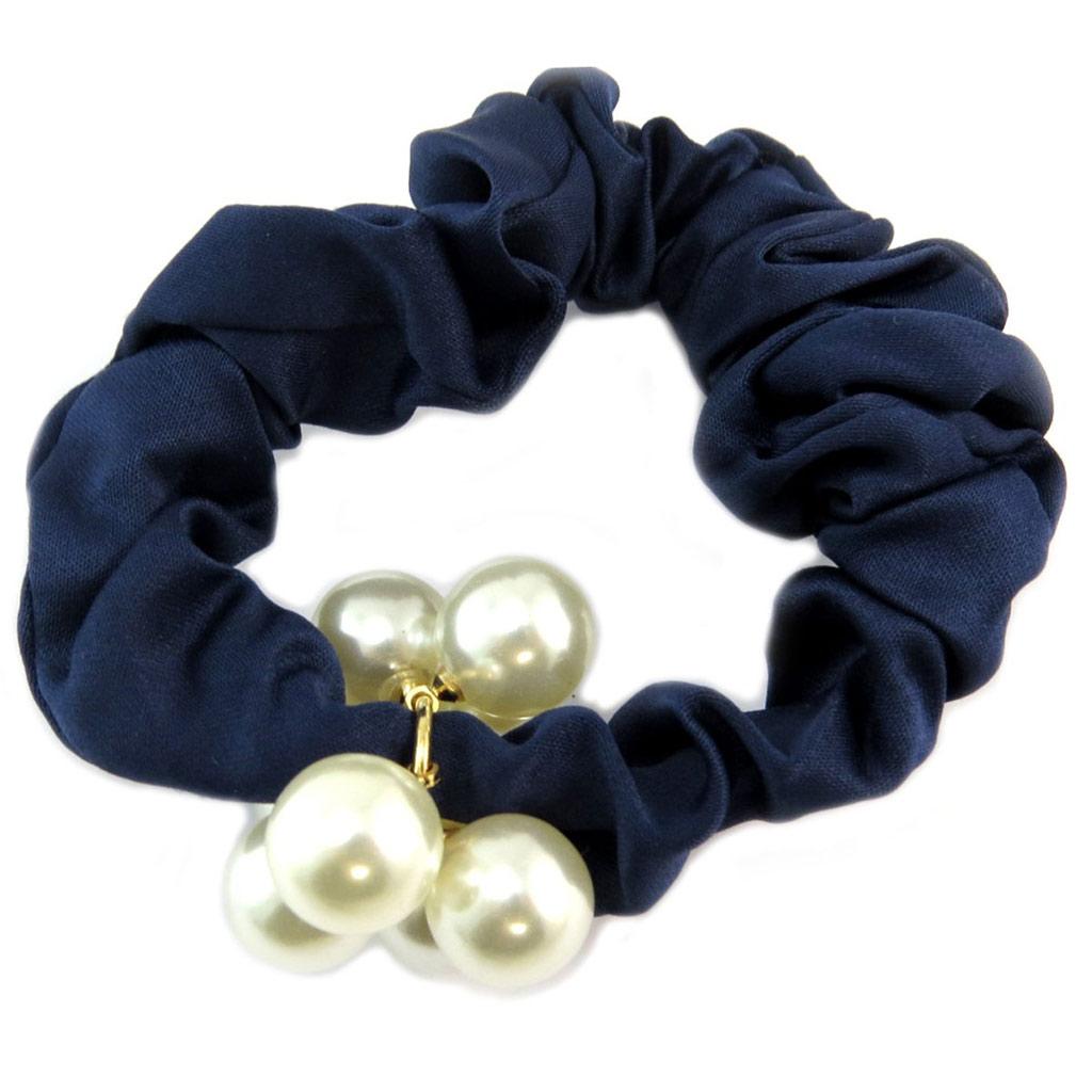 Chouchou créateur \'Sissi\' bleu ivoire (satin) - largeur 25 cm - [P6098]