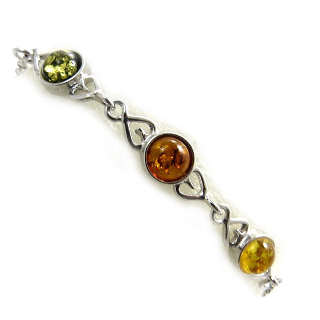Bracelet Argent \'Inspiration\' 3 ambres (rhodié) - [N2287]