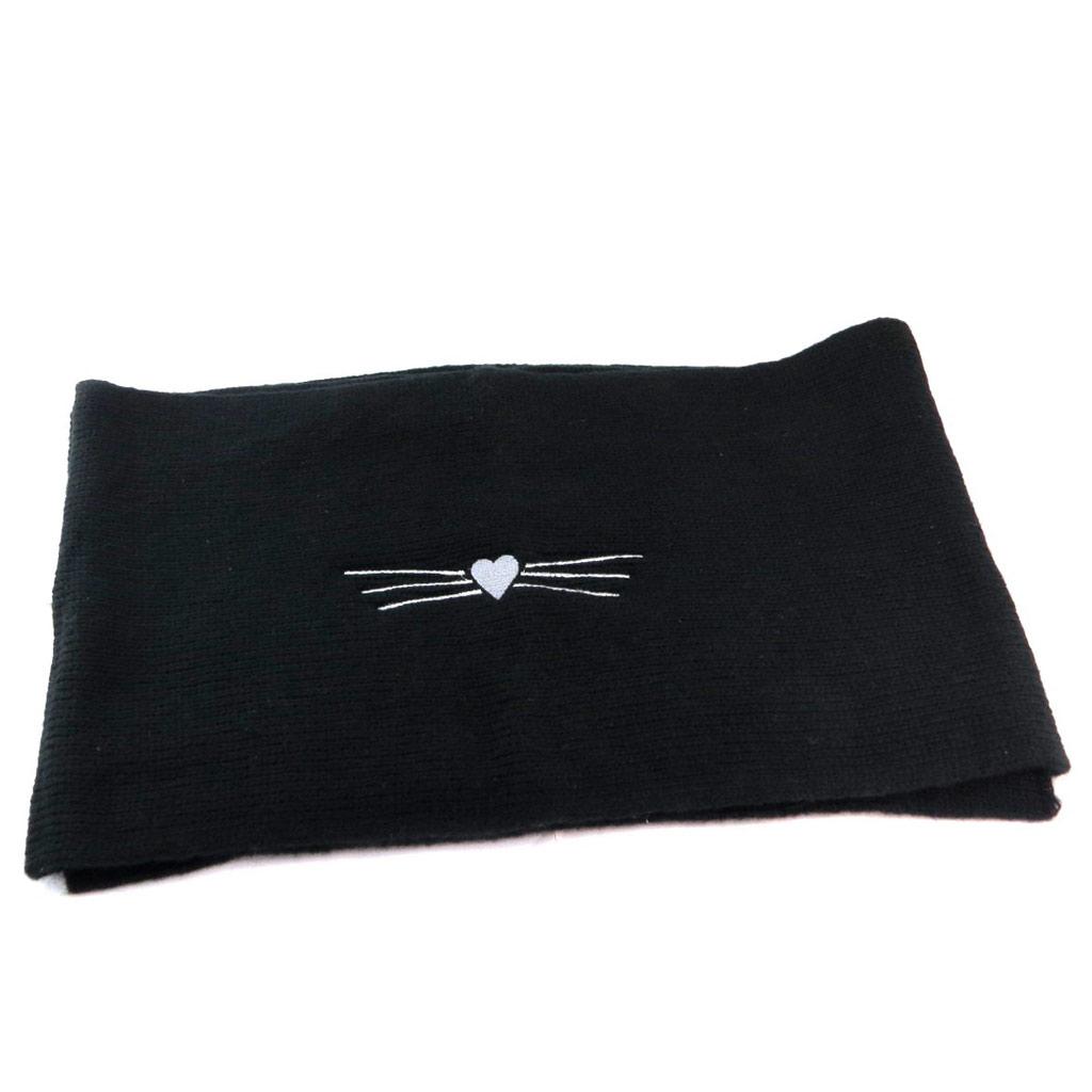 Echarpe créateur \'Lollipops\' noir (coeur chat) - 168x305 cm - [P6134]